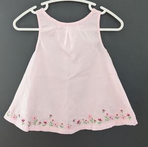 Pink sleeveless flowy dress embroidered flowers